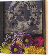 Flower Clock Wood Print