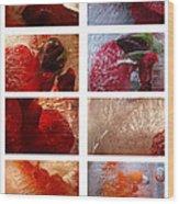 Flower Collage Vertical Wood Print