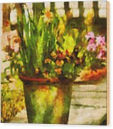 Flower - Daffodil - A Pot Of Daffodil's Wood Print by Mike Savad