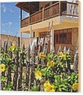 Flower Fence For A Beach Loft In Jeri Wood Print