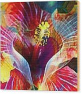 Flower Fire Power Wood Print