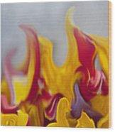 Flower Flames Wood Print
