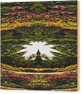 Flower Garden Polar View Wood Print