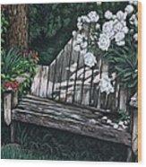 Flower Garden Seat Wood Print