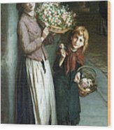 Flower Girls A Summer Night Wood Print by Augustus Edwin Mulready