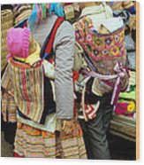 Flower Hmong Mothers And Babies Wood Print