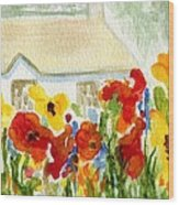 Flower House Wood Print