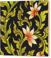 Flower Images Artistic From Thai Painting And Literature Wood Print