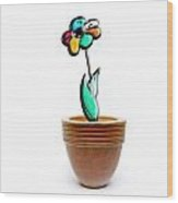 Flower In A Pot. Concept Wood Print
