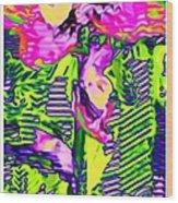 Flower Line Sketch Wood Print