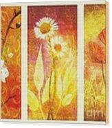 Flower Love Triptic Wood Print
