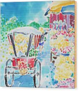 Flower Market  In Chiang Mai Wood Print