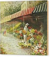 Flower Market Wood Print
