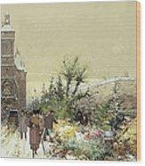 Flower Market Marche Aux Fleurs Wood Print by Eugene Galien-Laloue