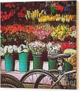 Flower Market With Bike Wood Print