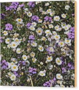 Flower Mix - Purple And White Wood Print