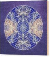 Flower Of Life Blue Wood Print