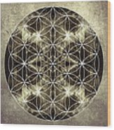 Flower Of Life Silver Wood Print