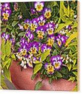 Flower - Pansy - Purple Posies  Wood Print by Mike Savad