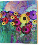 Flower Power Abstract Art  Wood Print