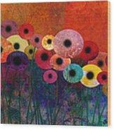 Flower Power Five Abstract Art Wood Print