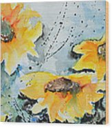Flower Power- Floral Painting Wood Print by Ismeta Gruenwald