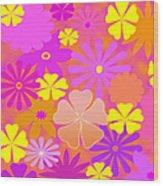 Flower Power Pastels Design Wood Print