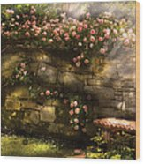 Flower - Rose - In The Rose Garden  Wood Print by Mike Savad