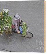 Flower Seller In Street Of Hanoi Wood Print by Sami Sarkis