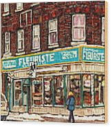 Flower Shop Rue Notre Dame Street Coin Vert Fleuriste Boutique Montreal Winter Stroll Scene Wood Print