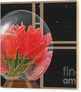Flower Snow Globe At Window Wood Print