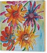 Flower Splash Wood Print