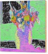 Flower Vase On Window Seal With Black. Wood Print