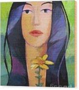 Flower Woman Wood Print