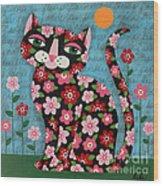 Flowered Calico Black Cat Wood Print