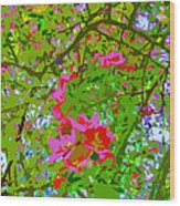 Flowering Blossoms Tree Paint Style Wood Print
