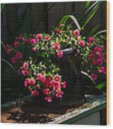 Flowering Coffee Pot Wood Print