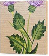 Flowering Thistle Wood Print