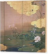 Flowers And Birds Of The Four Seasons Wood Print