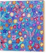 Flowers And Butterflies Wood Print