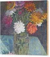 Flowers And Glass Wood Print