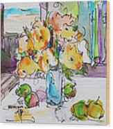 Flowers And Green Apples Wood Print