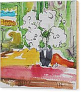 Flowers And Green Wall Wood Print