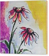Flowers And Ladybug  Wood Print
