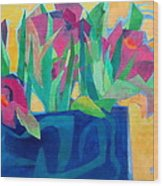 Flowers And Leaves Wood Print by Diane Fine