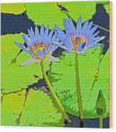 Flowers And Lily Pads Wood Print