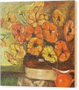 Flowers And Red Pitcher Wood Print