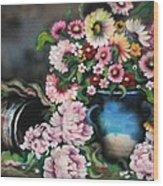 Flowers And Vase Wood Print