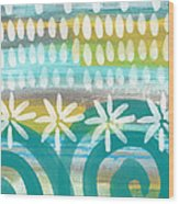 Flowers And Waves- Abstract Pattern Painting Wood Print