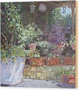 Flowers At Lida's Veranda Wood Print